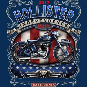 Poster for the 70th anniversary Independence Rally in Hollister, CA, birthplace of the American biker
