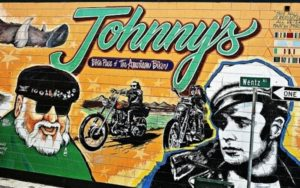 Mural featuring Marlon Brando (Wild One movie) and Wino Willie (Boozefighters motorcycle club) at Johnny's Bar and Grill in Hollister, CA