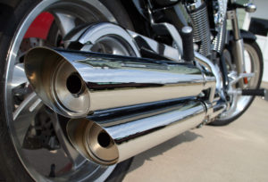 Loud motorcycle exhaust pipes are a signature of the biker rally in Hollister, California