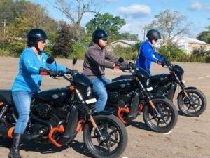 Three Harley Davidson riders, Hollister, California